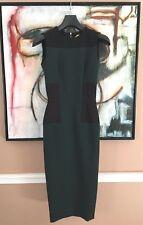 VICTORIA BECKHAM Black & Green Zippered Back Sleeveless Dress US Sz 2