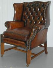 RESTORED 1960'S GEORGIAN H FRAMED CHESTERFIELD WHISKEY LEATHER WINGBACK ARMCHAIR