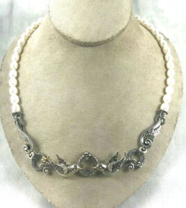 """Great Figural Barbara Bixby 18K Gold Sterling & Pearl Necklace-Signed-18"""""""