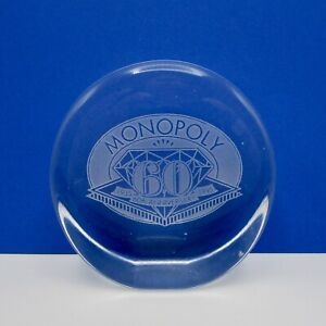 Monopoly 60th anniversary diamond glass etched paperweight game memorabilia