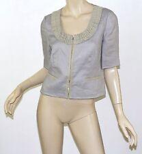$148 Rare J. CREW Gray Linen PRESENTATION Ruffle Trim Cropped Jacket S 4