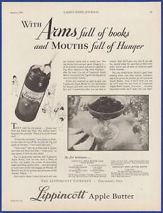 Vintage 1930 LIPPINCOTT Apple Butter Jam Jelly Kitchen Art Decor Print Ad 30's
