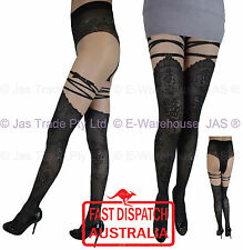 Costume Faux Fake Thigh High Stockings Body Top Control Shaping Pantyhose Black