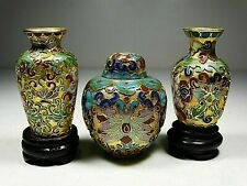 LOT OF 3 CLOISONNE VASES´S AND JAR VERY DECORATIVE ANTIQUE