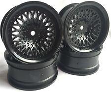 Rc Car 1/10 Drift FM Spoke Rim Wheel 6mm Offset fit Tamiya HPI 12mm hex BLACK 4