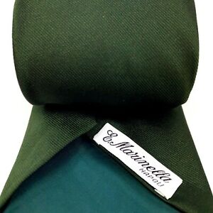 E. Marinella Napoli Tie Made in Italy 100% Silk Dark Green Mens Woven Necktie