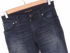 nv467 Nudie Jeans pantalones elásticos Fino FIN Org Negro Hecho en Italia Talla