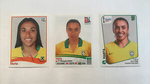 Panini Marta ROOKIE Womens World Cup 2011, 2015, 2019 Sticker Set MINT