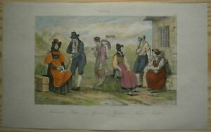 1838 print SWISS FOLK COSTUMES: NEUCHATEL, VALAIS, GRAUBÜNDEN & TICINO (#64)