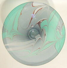 Art Glass Hand Blown Bowl Turquoise Brown White Marbled 3 Inches