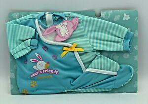Nenuco Doll Clothes Baby Romper Suit Blue/White Stripe Fits Doll 40-43cm Length