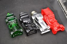 4 Vtg Avon Auto Decanters-Green Buggy,Black Touring T,Silver Roadster,Red Fire