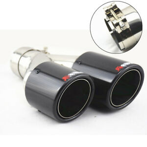 "Black Carbon Fiber Racing Car Exhaust Tip Universal 2.5"" inlet Muffler Pipe Left"