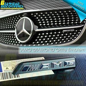AMG Front Diamond Grille Emblem Chrome fit Mercedes Benz Radiator Badge C43 E43