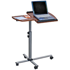 Adjustable Mobile Rolling Laptop Notebook Computer Cart - Mahogany