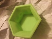 "EXC COND Fenton Green Custard Glass Hexagon Chrysanthemum Footed Bowl - 7.25""W"