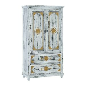 Brass Work Indian Mango Wood White Clothing Cabinet (Made To Order)