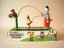 TPS Skip Rope Animals with original box NMIB condition 1950 Japan windup tin toy