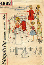 """1960's VTG Simplicity Closet Full of Clothes Teen-Age Doll Pattern 4883 12"""" tall"""