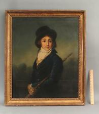 19thC Antique Life-Size Portrait Oil Painting Equestrian Dressed Woman