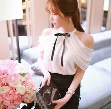 1pc Lady Sexy Off Shoulder Shirts Lolita Girls Bowknot Tee White Chiffon Summer