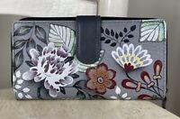 ANUSCHKA Women's Gray FLORAL Leather Medium Zip Around Clutch Wallet Wristlet
