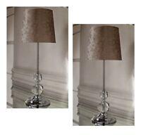 Luxe Cristal Velours Ecrasé Lampe de Table Chevet Tablelamp Doré - 2 Paquet