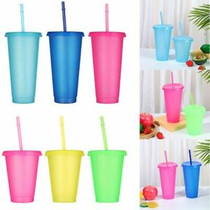 Plastic Reusable Water Bottle With Straws Drinking Cup Flash Powder Straw Cup