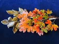 "Vtg Millinery Leaf Collection All Velvet Brown Coral Fall 1- 2"" Germ Japan H3170"