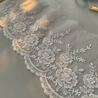 Vintage White Floral Lace Trim On Bridal Tulle W Scallop Edge 150mm No Stretch