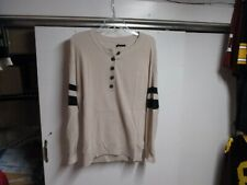 """""""AMERICAN EAGLE"""" WOMENS SWEATER (XS) CREW NECK 1/4 BUTTONS BEIGE BLACK STRIPES"""