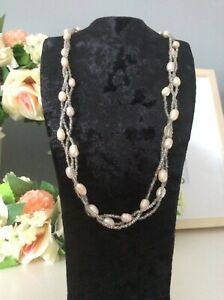 Freshwater pearls twisted seed bead necklace