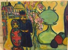 """Russian Celebration Oil Painting Signed Nesting Doll 21x16"""" on canvas Russia"""