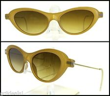 PRADA ~ Golden Honey Brown SPR 06B Retro Mod CAT EYE SUNGLASSES $355 NEW w/ Case