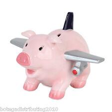 "Ceramic Piggy Bank Airplane Money Bank Coin Savings Avion Airplane ""AirHog"""