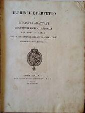 """LIBRO ANTICO BROSSURE """"IL PRINCIPE PERFETTO E MINISTRI ADATTATI"""" A. MENDO 1816"""