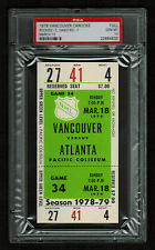PSA 10 VANCOUVER 1979 Unused NHL Hockey Ticket for ATLANTA at Pacific Coliseum