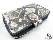 PELGIO Genuine Python Snake Skin Zip Around Medium Clutch Wallet Purse Natural