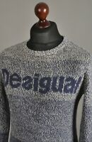 Men's DESIGUAL Crew Neck Pullover Jumper Wool Blend Knitted Size M
