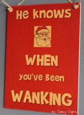 Naughty Santa Wanking Christmas Sign - Decorations Tree Lights Gifts Signs