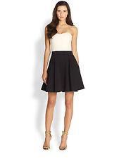 36bb403ee6c DVF Diane Von Furstenberg Avedon Cream Black Strapless Flare Dress Size 2