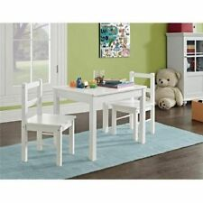 Kids 3-Piece Set Table and Chair for Homework Coloring Writing Activity White