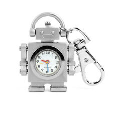 Silver Tone Robot Pendant Key Ring Keychain Pocket Quartz Watch Kids Gift Hot !