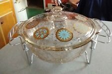Vintage Fire King Geo.Briard Turq. +Gold speck Casserole W/ Tomado-Holland Stand