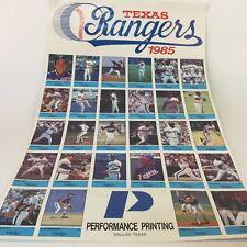 Vintage Rare Texas Rangers 1985 Baseball Performance Printing Poster