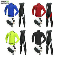 WOSAWE Mens Cycling Jersey Bib Pants Set Long Sleeve MTB Bike Bicycle Trousers