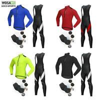 WOSAWE Mens Cycling Jersey Bib Pants Set Long Sleeve MTB Bike Bicycle Trousers