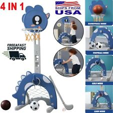 Adjustable 3-5.5Ft Basketball Hoop Stand Basketball/Ring Toss/Soccer/Goal 4 In 1