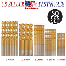 50pcs High Speed Steel Titanium Coated HSS Drill Bit Set 1-3mm MINI