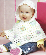 PRETTY BABY EASY CROCHET GRANNY SQUARE PONCHO WITH HOOD PATTERN  (239)